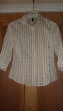 H&M UK 10 Shirt WHITE YELLOW Floral Embroidery SMALL Tailored Designer Chic FAB!