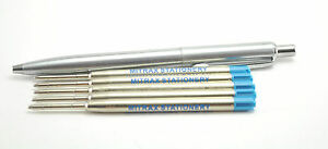 Quality stainless steel ball point click pen + 5 Blue Mitrax brand refills