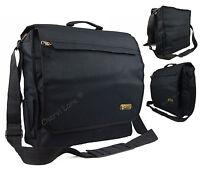 Hi-Tec Black Messenger Satchel Briefcase Laptop Work College School Shoulder Bag
