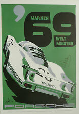 PORSCHE 908LH SPA FRANCORCHAMPS 1969 SIFFERT REDMAN Brian HAND SIGNED Art poster