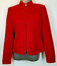 Conrad C. Collection Women's Zip Front Faux Suede Jacket - Size 6 - Red