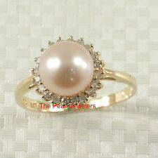 14k Solid Yellow Gold AAA 8-8.5mm Pink Cultured Pearl Diamonds Cocktail Ring TPJ