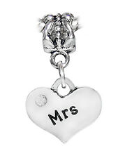 Mrs Heart Wife Marriage Wedding Gift Dangle Charm fits European Bead Bracelet