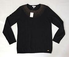 Calvin Klein Black Women's Sweater W/ Small Gold Rhinestone Studs Size L NWT