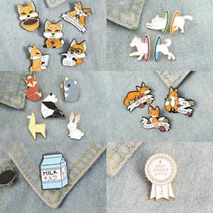 Pin Brooches Fox Coffee Origami Animal Backpack Badges Hard enamel lapel Bag