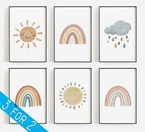 Childrens Watercolour Rainbow Cloud Sun Wall Art Prints Nursery Boho Poster