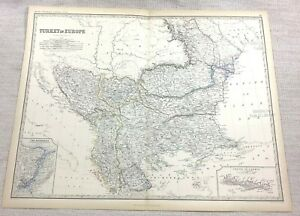 1861 Antique Map of Turkey Old Turkish Empire Hand Coloured Engraving Johnston