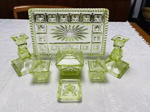 Vintage Uranium Vaseline Glass Vanity Set - Sowerby 1933c Tynsyde Range