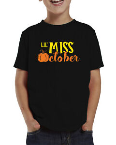 Lil Miss October Halloween Autumn Leaves Cute Adorable Toddler T-Shirt