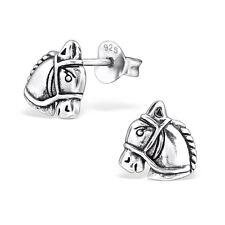 Pferde Ohrstecker 925 Echt Silber Ohrringe Pferdekopf Mädchen Damen Herren