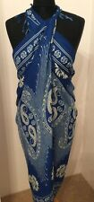 Cobalt Blue And Cream Patterned Beach Wrap/Sarong