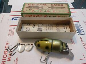 Vintage Creek Chub Green Yellow Beetle w/Original Box & Paperwork 3851 unused