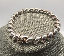 """Sterling silver 925 Italy chunky rounded chain 7"""" bracelet 17 grams"""