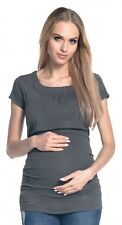 Happy Mama Women's Maternity Nursing Double Layer T-shirt Round Neckline. 136p