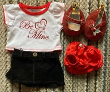 Build A Bear Valentine Outfit 'Be Mine' Shirt w Bloomers, Blk Skirt & Red Shoes