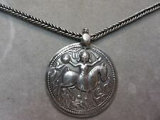 Antique Sterling Silver Persian Necklace w/ Large round Sumerian God Pendant