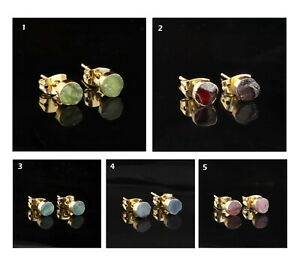 Genuine Round Raw Gemstones Yellow Gold Electroplated Push-Back Stud Earrings