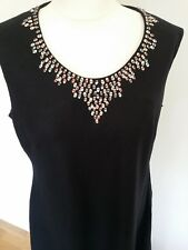 Alex & Co 100% Linen Black Dress with Bead Work size 16 Sleeveless NEW with tag
