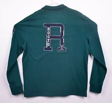 b89096fb7191 Roots Canada Men s Sz XL Green Collegiate Long Sleeve Polo Shirt NWT