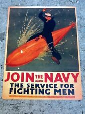 "TIN SIGN ""Join the Navy"" Patriotic Military Signs  Rustic Wall Decor"