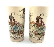 Geschutzt Ceramic German Beer Mugs Cups Antique Pair Collectible Barware 1/4L
