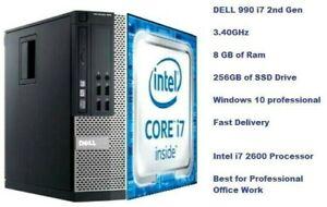 Dell OptiPlex PC 990 i7 2nd Generation 3.40 GHz 240 GB SSD Drive Win 10 Pro