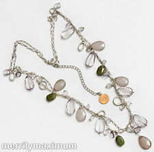 Chico's Signed Necklace Long Silver Tone Figaro Chain Green Pale Purple Gray
