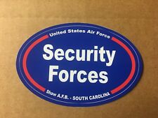 U S AIR FORCE SECURITY FORCES SHAW S. C.  Bumper Sticker - 4 3/4 Inch OVAL