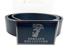 Versace Collection Medusa Plaque Leather Belt in black adjustable size 110