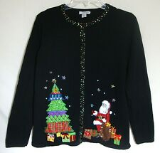 Ugly Christmas Sweater Santa Contest Sequins Designer Mercer Street Studio Small