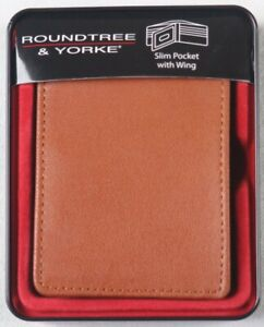 ROUNDTREE & YORKE MENS SLIM POCKET with WING BROWN LEATHER WALLET NWT NIB