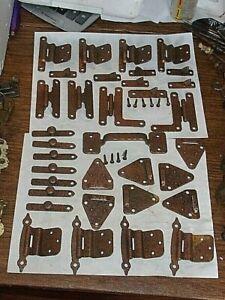 34 PCS. OF NOS VINTAGE HAMMERED STEEL CABINET HARDWARE. COPPER WASH FINISH.