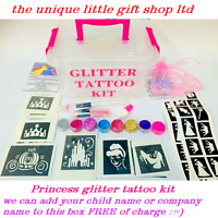 GLITTER TATTOO KIT 146 stencils 8 glitters UNICORNS boy OR girl OR REFILL ITEMS
