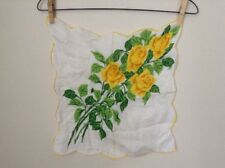 "Yellow Rose Handkerchief Wrap Kerchief Vintage Cloth Decor 14""x14"""