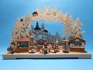 Schwibbogen 3 D mit 2 Figuren Weihnachtsmarkt 43 x 30 cm Erzgebirge NEU 10634