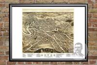 Vintage Dover, NH Map 1877 - Historic New Hampshire Art - Victorian Industrial