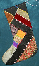 AWESOME ANTIQUE VINTAGE CRAZY QUILT CHRISTMAS STOCKING! CUTTER QUILT CQ5