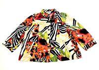 N Touch Colorful Zebra Print & Floral Button Jacket Blazer W/ Pockets Size XL