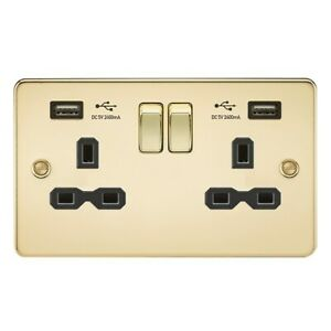 Gold Polished Brass 13A 2G Switched Socket with Dual USB Black Insert Flat Plate