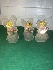 Vintage Christmas Spun Silk Angels Made In Japan Late Forties Set Of Three Pink