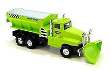 "GREEN Snow Plow Salt Truck 6"" Diecast Metal model w.Swivel Plow Toy Boys & Girls"