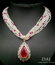 Antique 3.40 CT Natural Rose Cut Diamond Ruby Necklace