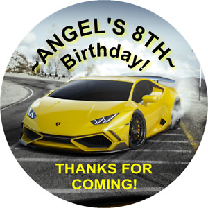 YELLOW AND BLACK LAMBORGHINI CUSTOM ROUND BIRTHDAY PARTY STICKERS FAVORS LABELS