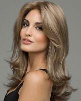 Wonderful wavy Long Light Brown Curly Cocoa Ladies Wigs skin top Hair Wigs