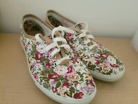 Hotter Ladies Cream Floral Canvas Lace Up Mabel Summer Shoes Uk Size 3
