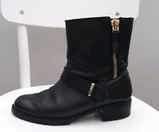 Zara leather biker boot black zip ankle 40 7 shoe