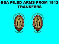 BSA Piled Arms Garter Style Oil Tank Toolbox Transfers Decals Waterslide 1912 on