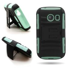 For Samsung Galaxy Ace Style - Teal / Black Holster Case Belt Clip Stand Cover