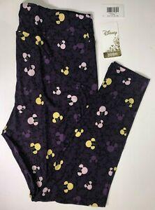 LuLaRoe Disney Leggings Mickey Minnie Mouse Heads Purple Vine TC2 NWT 201069