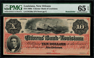 1860's $10 Obsolete - New Orleans, Louisiana - Citizens Bank - PMG 65 EPQ - DIX